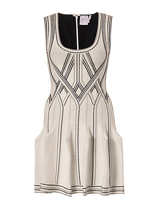 Herve Leger Flare Mid-Thigh Dress