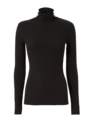 Enza Costa Slit Cuff Ribbed Turtleneck
