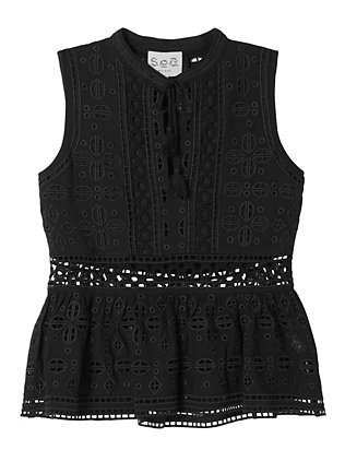 Sea EXCLUSIVE Eyelet & Lace Top: Black