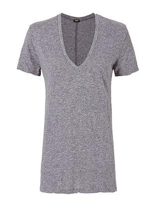 Oversized V Neck Tee: Grey