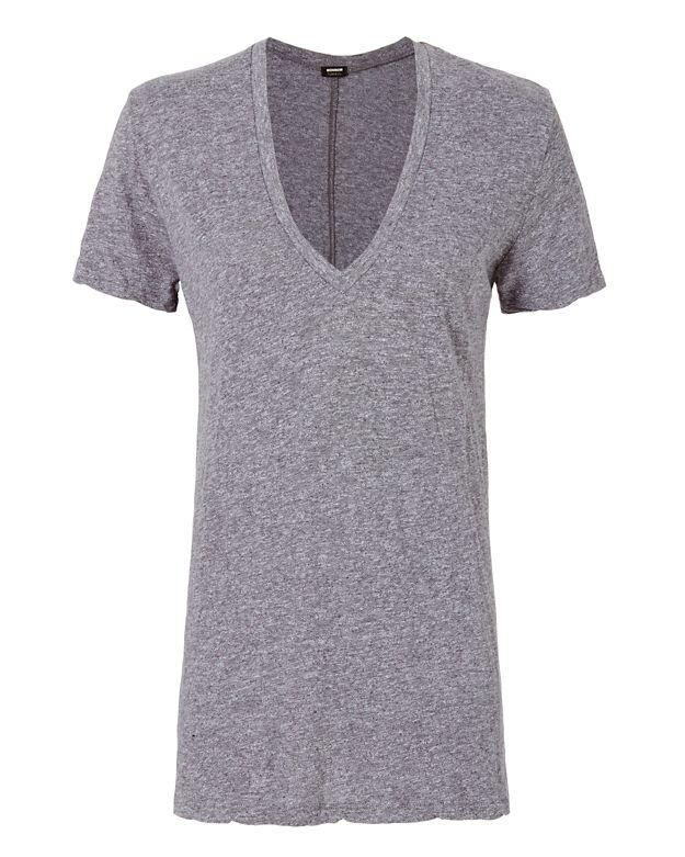 Monrow Oversized V Neck Tee: Grey