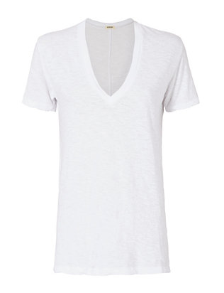 Monrow White Oversized V-Neck Tee