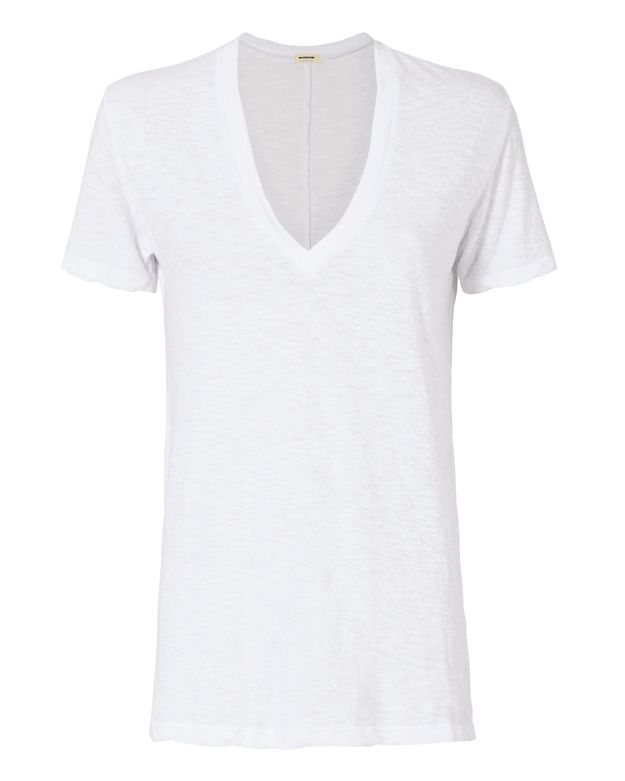Monrow Oversized V Neck Tee: White