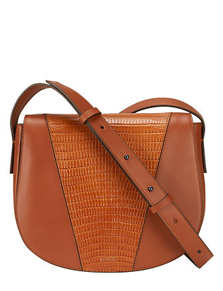 Vince Lizard Embossed Leather Crossbody: Brown