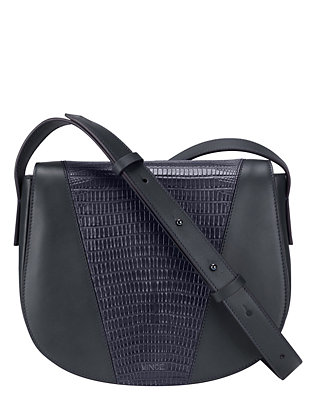 Vince Lizard Embossed Leather Crossbody: Navy