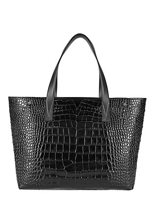 Vince Croc Embosed Leather Tote: Black