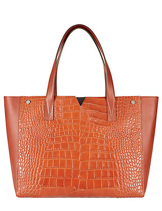 Vince Croc Embossed/Solid Leather Tote: Brown