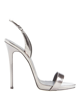 Giuseppe Zanotti Slingback Gunmetal Leather Sandals