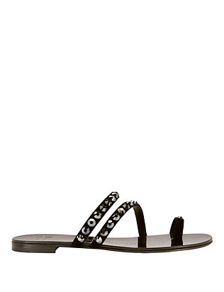 Nuvo Rock Diamond Suede Toe Ring Flat Sandals
