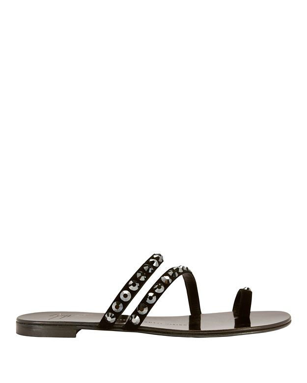 Giuseppe Zanotti Nuvo Rock Diamond Suede Toe Ring Flat Sandals