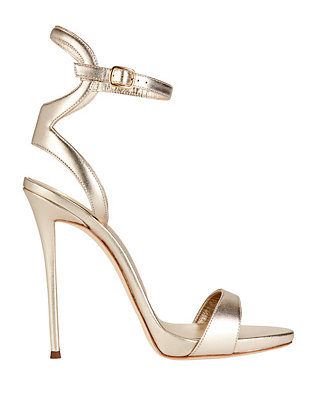 Coline Ankle Strap Metallic Leather Sandals