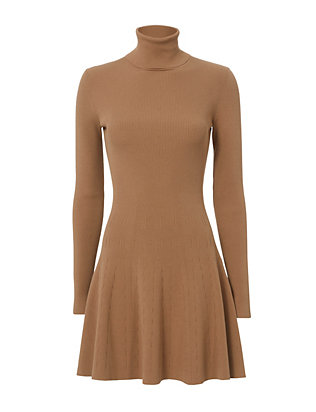 Delia Turtleneck Rib Flare Dress