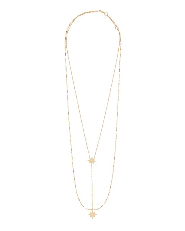 Jennifer Zeuner Diamond Detailed Double Star Lariat Necklace