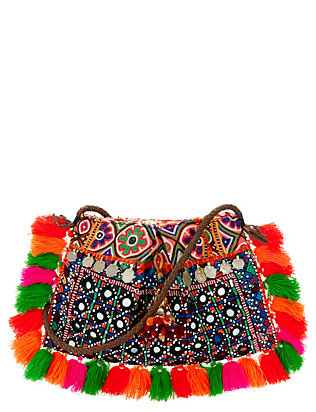Muzungu Sisters Cotton Fringe Mirrored Coin Bag