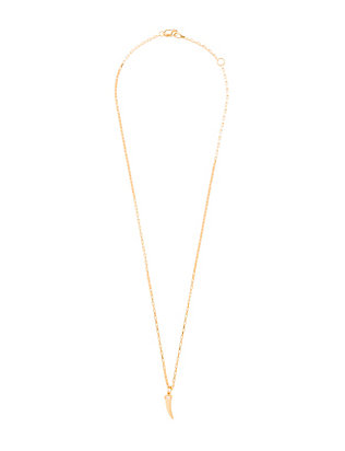 Jennifer Zeuner Baguette Detail Horn Pendant Necklace
