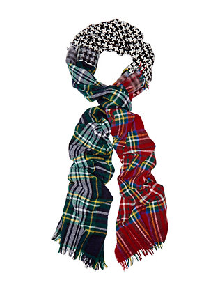 Plaid Houndstooth Scarf