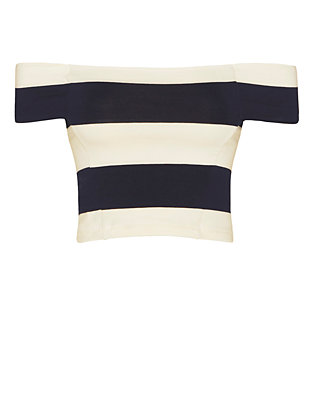 Nadia Tarr EXCLUSIVE Striped Off The Shoulder Crop Top