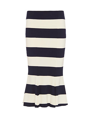 Nadia Tarr EXCLUSIVE Trumpet Hem Striped Skirt