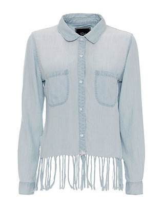 Rails EXCLUSIVE Cropped Fringe Hem Denim Shirt