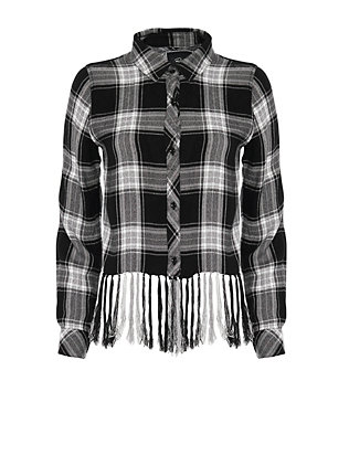 Rails EXCLUSIVE Cropped Fringe Hem Plaid Shirt