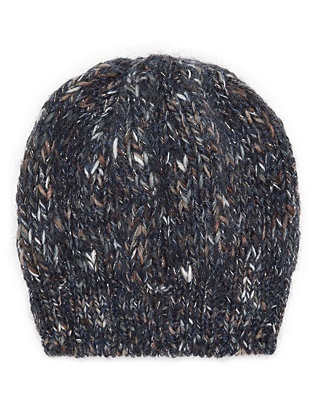 Luisa Brini Lurex Navy Knit Hat