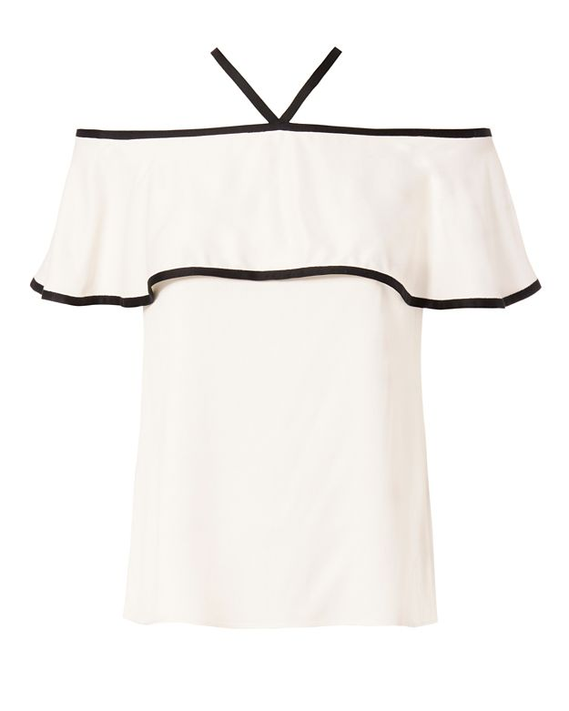 Alexis Isa Silk Piping Off The Shoulder Top