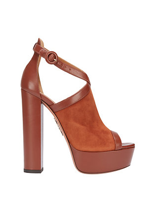 Aquazzura Issa Suede/Leather Platform Sandal: Brown