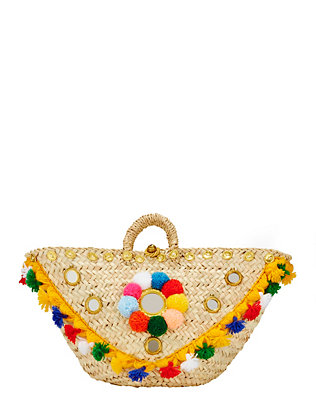 Muzungu Sisters Pom/Mirror Detailed Sicilian Basket