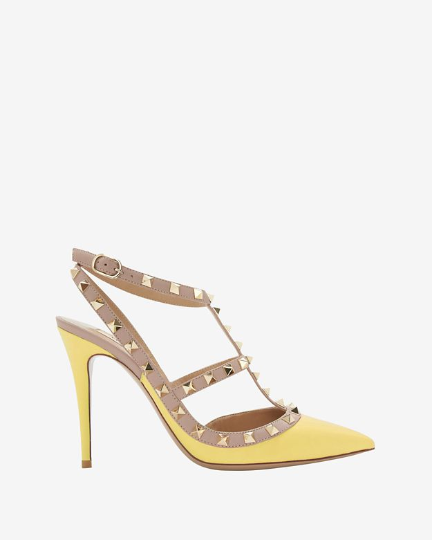 valentino-rockstud-cage-pump:-yellow by valentino