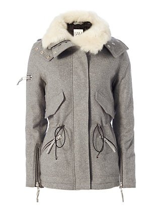 SAM Devon Shearling Lamb Collar Jacket