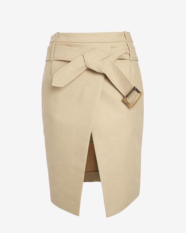 barbara-bui-belted-asymmetric-mini-wrap-skirt:-khaki by barbara-bui