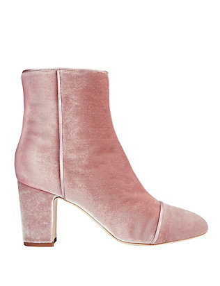 Polly Plume Jackie Velvet Bootie: Pink