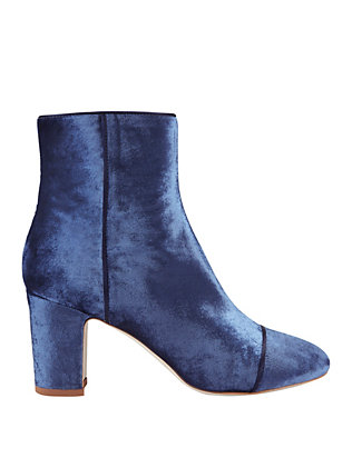 Polly Plume Jackie Navy Velvet Booties