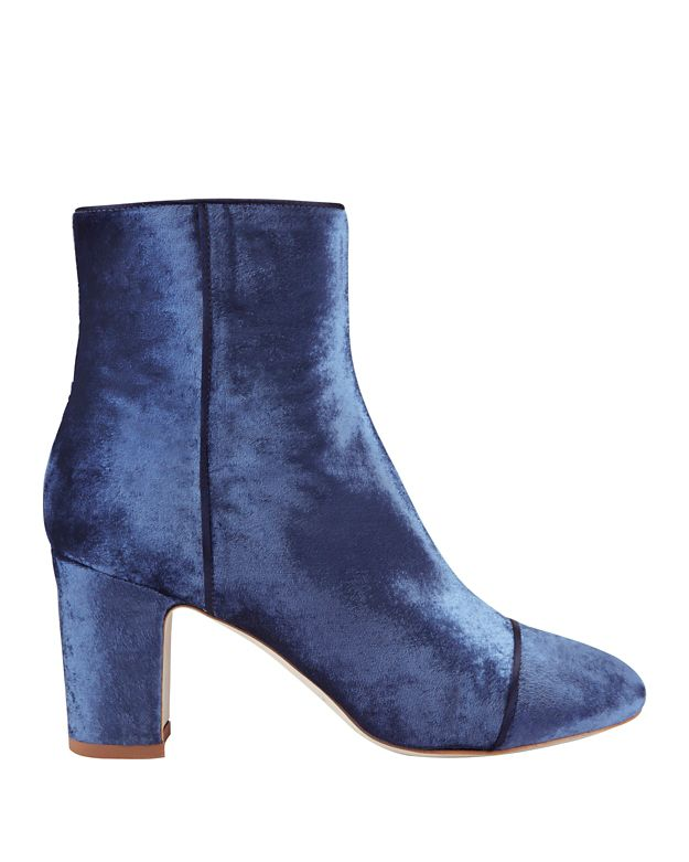 Polly Plume Jackie Velvet Booties: Navy