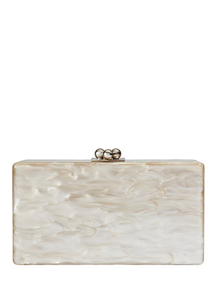 Jean Solid Taupe Box Clutch