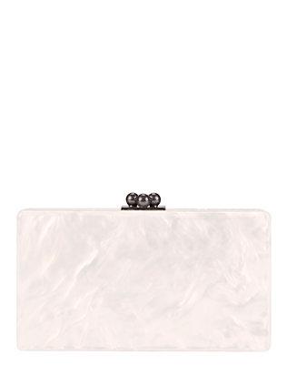 Jean Glitter Clutch: White/Silver