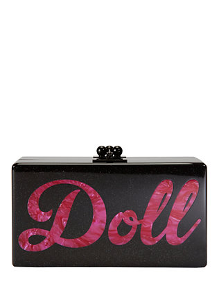 Edie Parker Jean Doll Clutch: Black