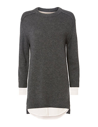 Brochu Walker Hi/Low Hem Grey Sweater Dress