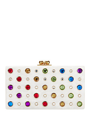 Edie Parker Jean Rainbow Jewel White Clutch