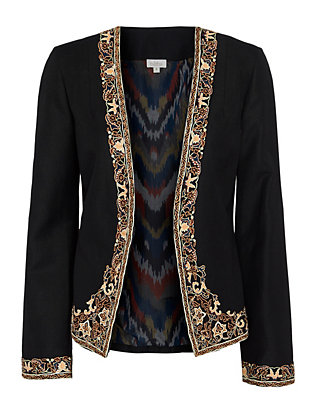 Talitha Iznik Embroidered Jacket: Black