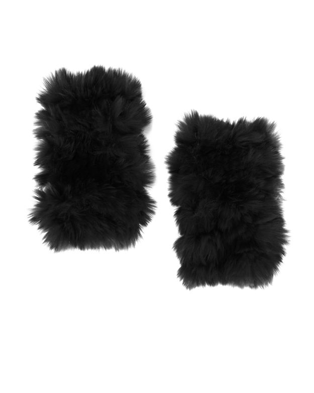 Jocelyn Rex Rabbit Fur Fingerless Mittens: Black