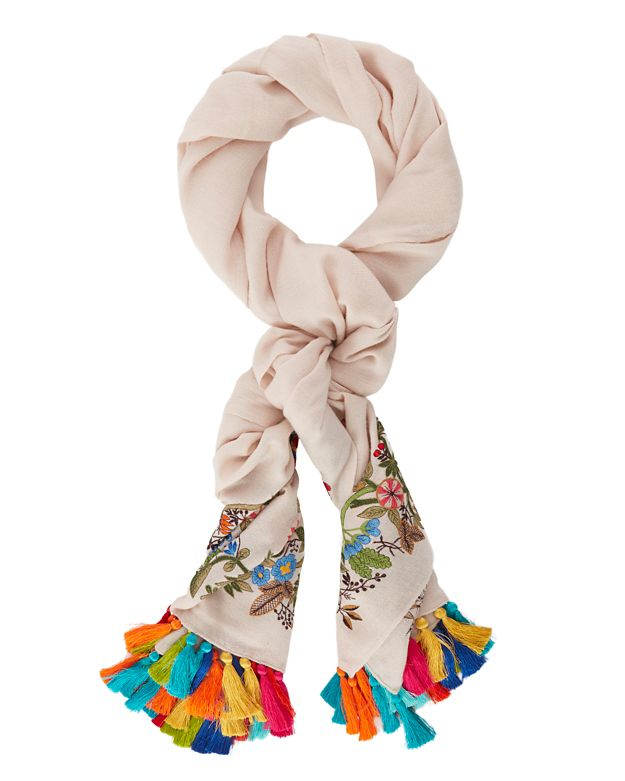 Janavi EXCLUSIVE Embroidered Tassel Scarf