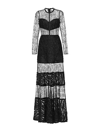 Alexis Joelle Embroidered Lace Inset Gown: Black