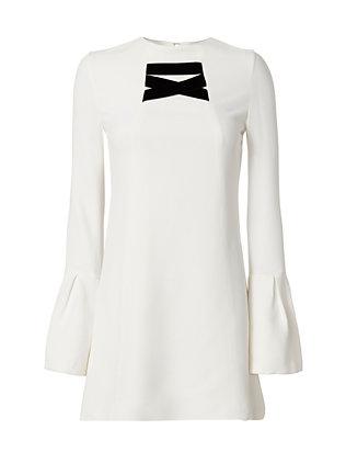 Josephine Velvet Detail Flare Sleeve Dress