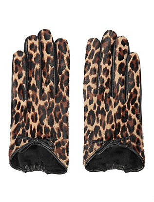 Agnelle Josie Calf Hair/Leather Cheetah Print Gloves