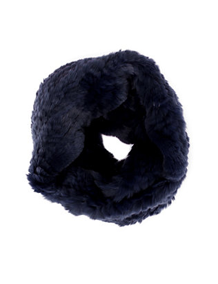 Jocelyn Rex Rabbit Fur Infinity Scarf: Navy