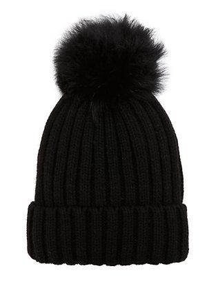Black Shearling Lamb Pom Hat
