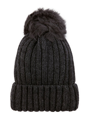 Grey Shearling Lamb Pom Hat
