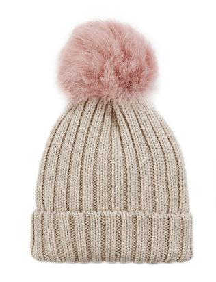 Pink Shearling Lamb Pom Hat
