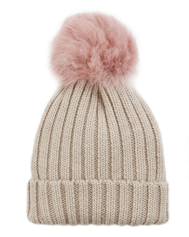 Jocelyn Pink Shearling Lamb Pom Hat